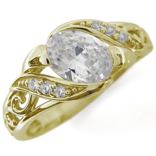 アラベスク キュービックジルコニア リング 唐草 K18 爪なし 指輪