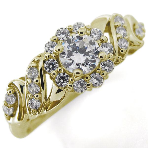 鑑定書 婚約指輪 ダイヤモンド リング SI 唐草 指輪 エンゲージ