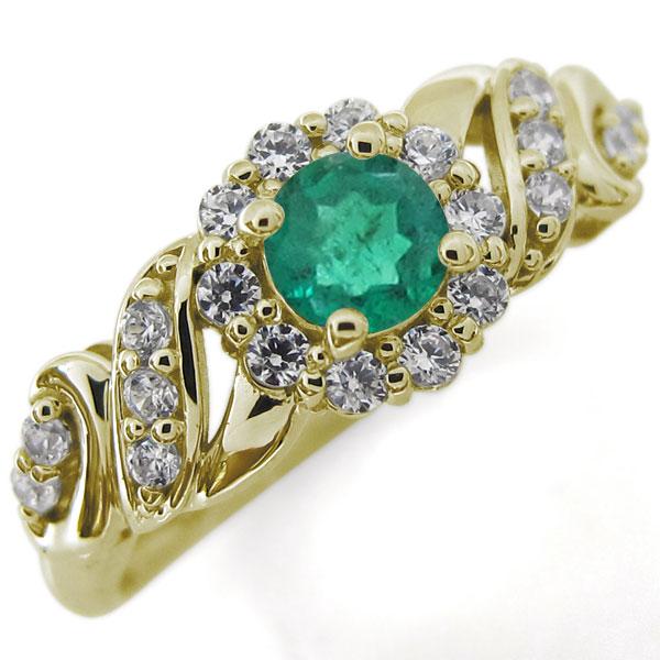 アンティークリング エメラルド 取り巻き 婚約指輪 ゴージャス