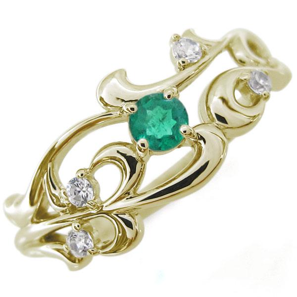 唐草 指輪 アラベスク エメラルドリング K18