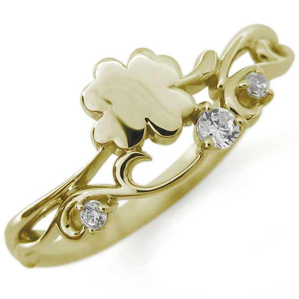 クローバーリング ダイヤモンド ファランジリング ピンキーリング 四葉 指輪