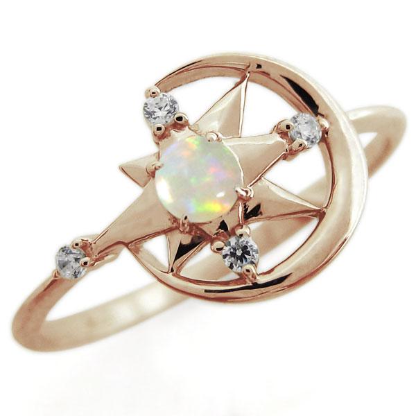 オパール スター ムーン リング 星 月 指輪 18金