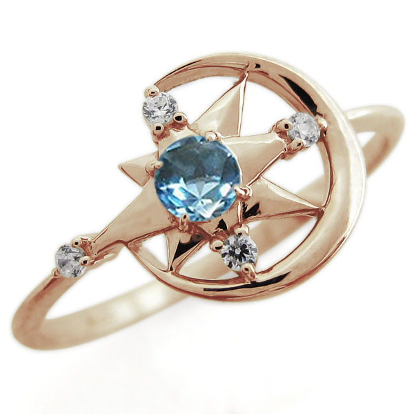 誕生石 星 月 一粒 リング 天然石 指輪 K18