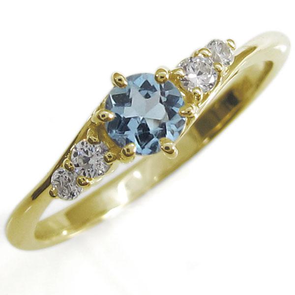 【10%OFF】4日20時~ アクアマリンサンタマリア・指輪・シンプルリング・上品・18金・リング