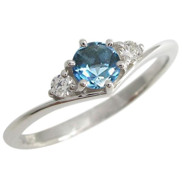 プラチナ 誕生石 Vライン シンプル エンゲージリング 婚約指輪