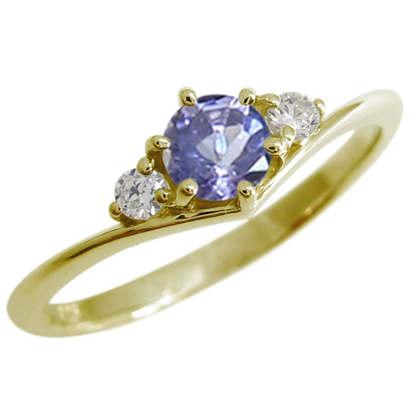 タンザナイト Vライン エンゲージリング エレガント 一粒 10金 婚約指輪
