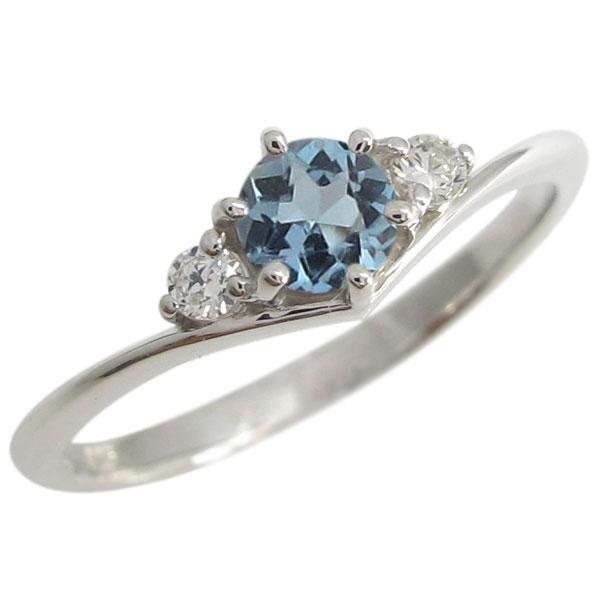 プラチナ V字 婚約指輪 シンプル アクアマリンサンタマリア 一粒 リング