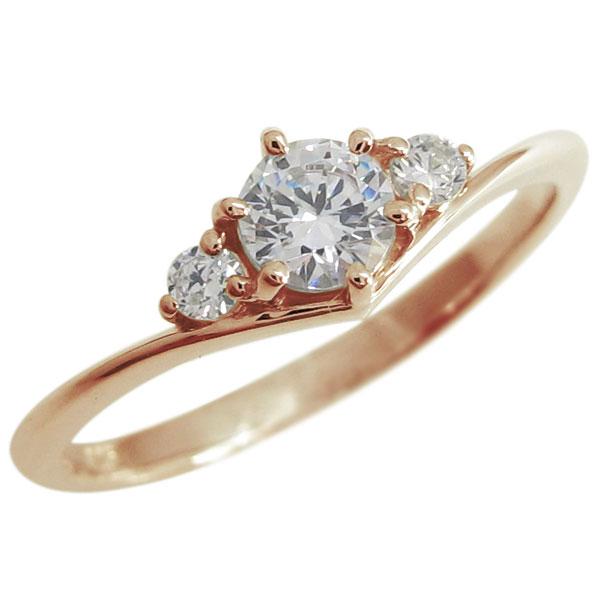 【10%OFF】4日20時~ ダイヤモンド V字リング シンプルリング 指輪 K18