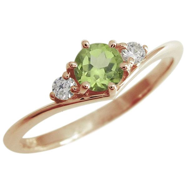 誕生石 V字リング シンプルリング 婚約指輪 K18