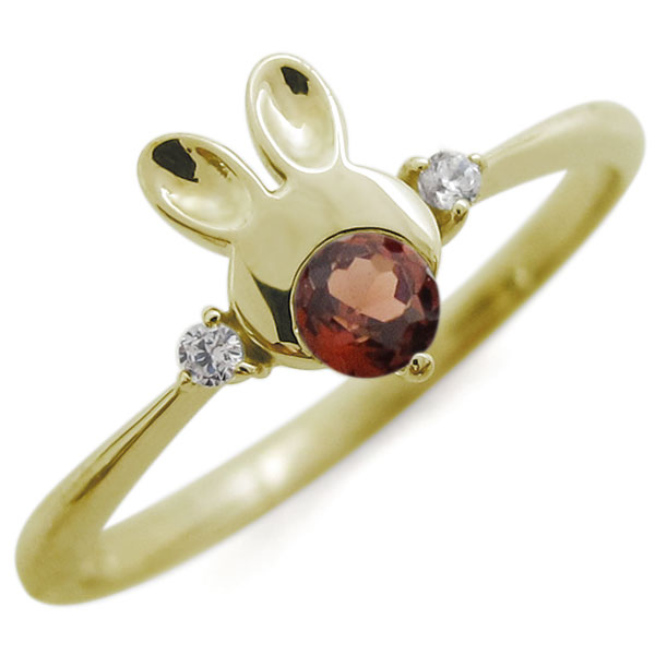 ガーネット うさぎモチーフ ラビット リング K10 兎 指輪