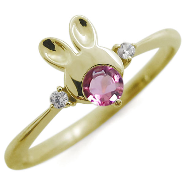 ピンクトルマリン うさぎモチーフ ラビット リング K10 兎 指輪