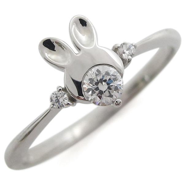 プラチナ うさぎリング ダイヤモンド 兎 ラビット 指輪