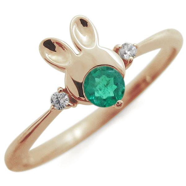 ウサギリング・エメラルドリング・うさぎ・指輪・18金 一粒