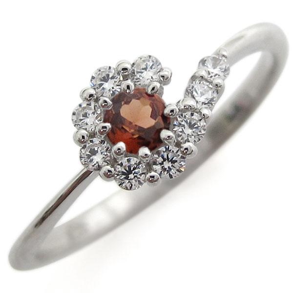 プラチナリング 結婚記念 ガーネットリング 取り巻き 婚約指輪