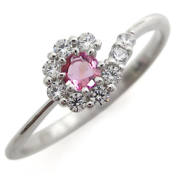 プラチナリング 結婚記念 ピンクトルマリンリング 取り巻き 婚約指輪