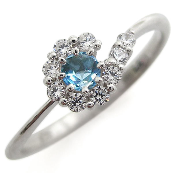 プラチナリング 結婚記念 ブルートパーズリング 取り巻き 婚約指輪