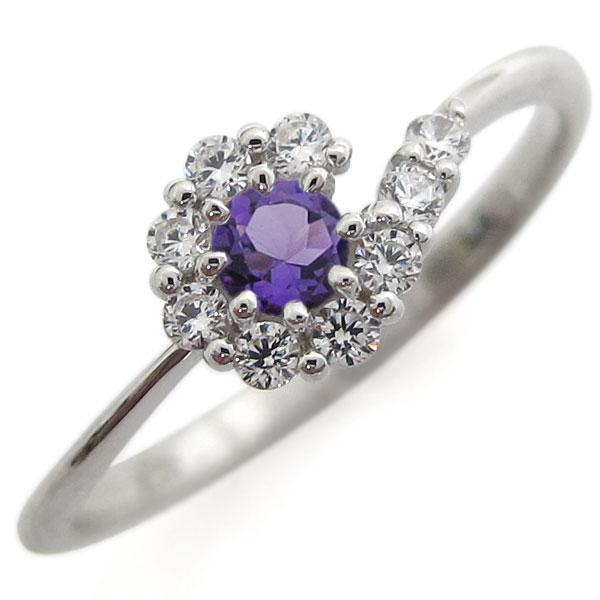 プラチナリング 結婚記念 アメジストリング 取り巻き 指輪