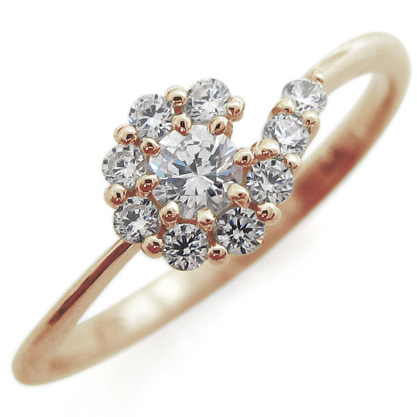 【10%OFF】4日20時~ ダイヤモンド・ブライダルリング・取り巻き・指輪・結婚10周年・K10