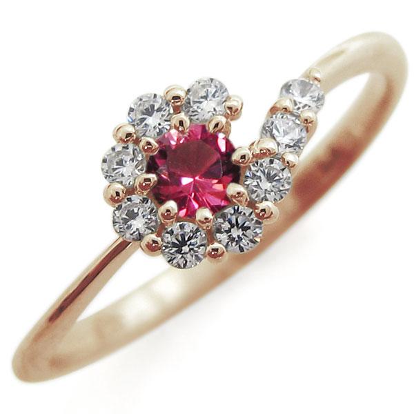【10%OFF】4日20時~ ルビー・ブライダルリング・取り巻き・指輪・結婚10周年・K10