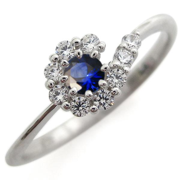 プラチナリング 結婚記念 サファイアリング 取り巻き 指輪