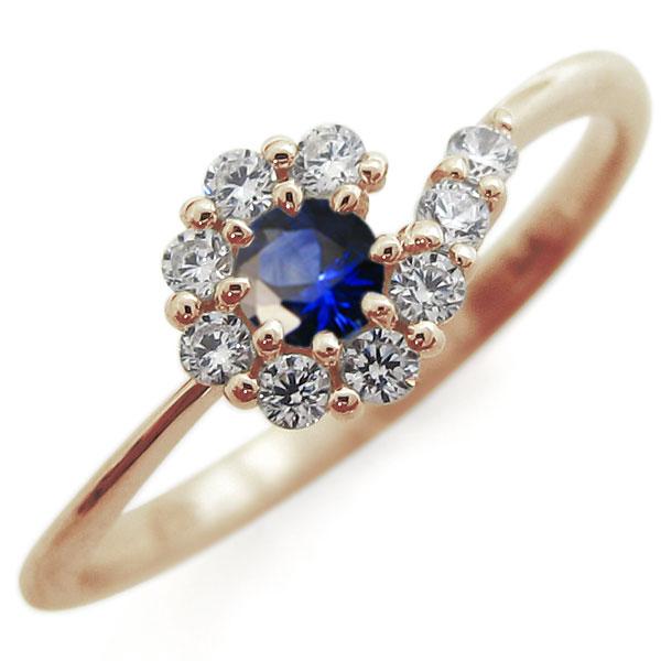 サファイア・ブライダルリング・取り巻き・指輪・結婚10周年・K10