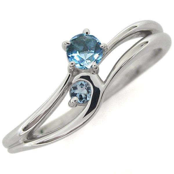 プラチナ ライン エンゲージリング 婚約指輪 ブルートパーズリング シンプル