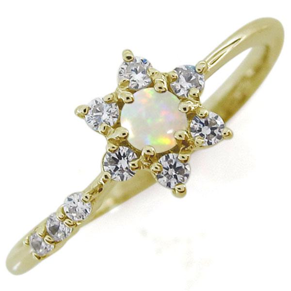 結婚記念日 オパールリング 結婚10周年 流れ星 K18 指輪