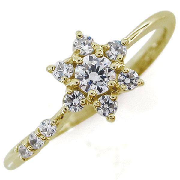 結婚記念日 ダイヤモンドリング 結婚10周年 流れ星 K18 婚約指輪