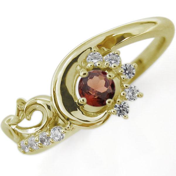 結婚10周年 ブライダルリング 唐草 婚約指輪 ガーネット K10