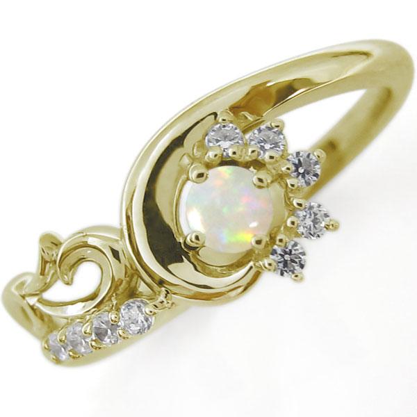 結婚10周年 ブライダルリング 唐草 指輪 オパール K10