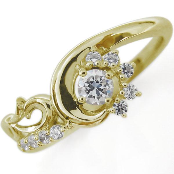 結婚10周年 ブライダルリング 唐草 指輪 ダイヤモンド K10