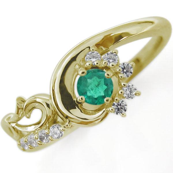 【10%OFF】4日20時~ 結婚10周年 ブライダルリング 唐草 指輪 エメラルド K10