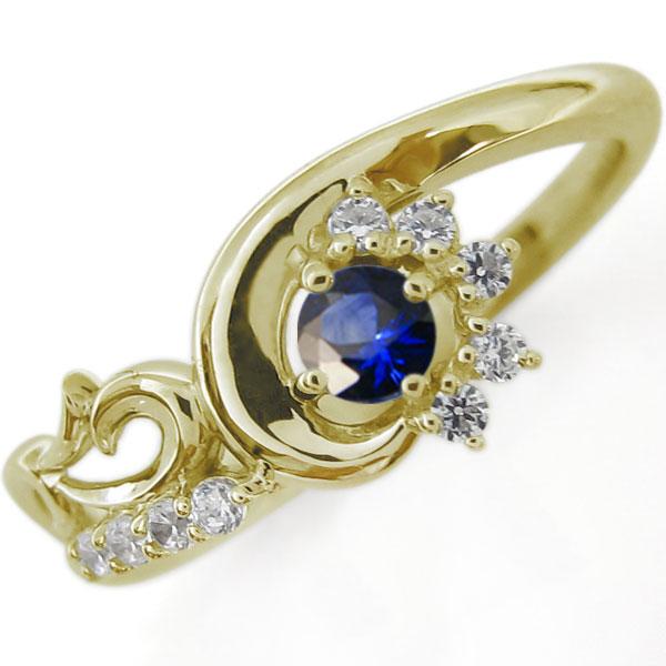 結婚10周年 ブライダルリング 唐草 指輪 サファイア K10