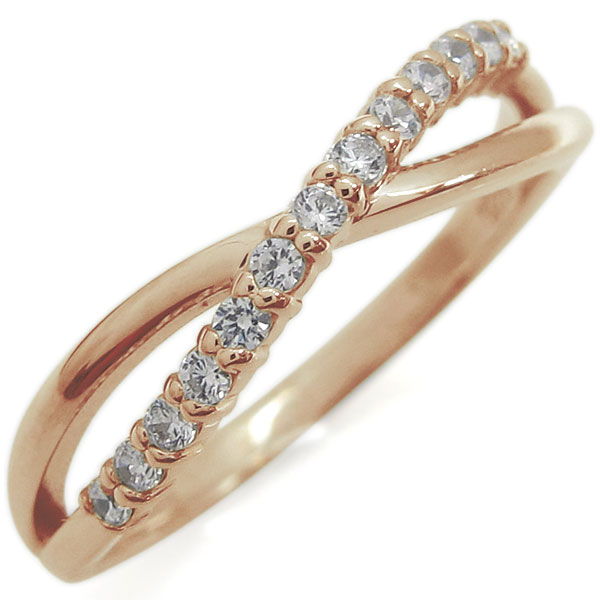ピンキーリング ダイヤモンド シンプルリング 上品 指輪 K18