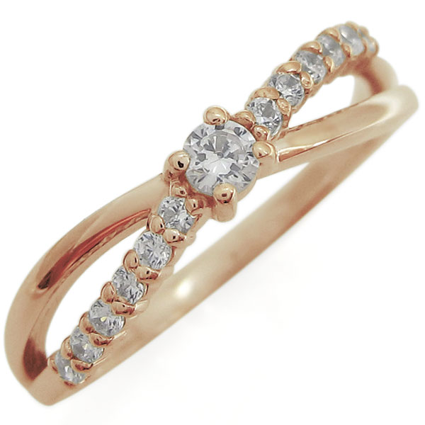 【10%OFF】4日20時~ ピンキーリング ダイヤモンドリング シンプル 指輪 K10