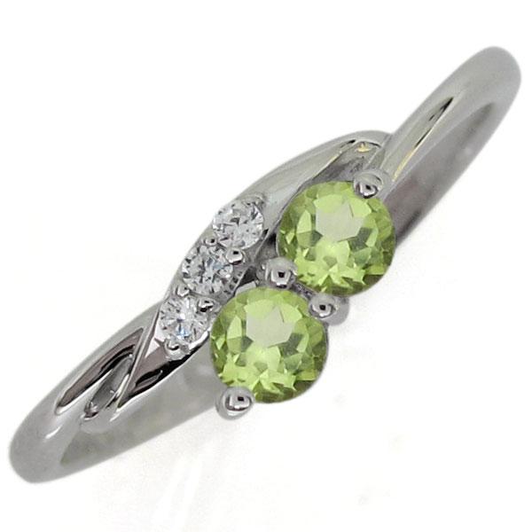 プラチナリング ペリドット エンゲージリング シンプル 婚約指輪
