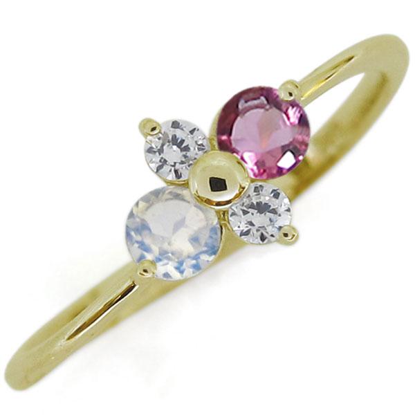 シンプルリング ピンクトルマリンリング エレガント K18 指輪