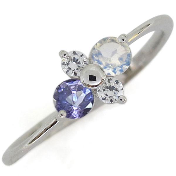 プラチナ ロイヤルブルームーンストーン 婚約指輪 シンプルリング レディース 母の日 プレゼント