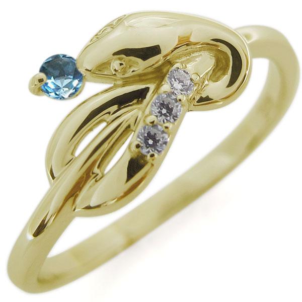 ブルートパーズ 指輪 ピンキーリング K18 スネークリング