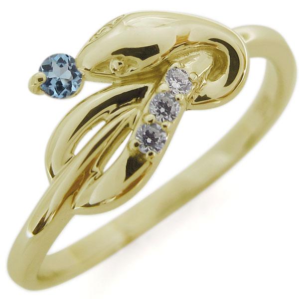 アクアマリンサンタマリア 指輪 ピンキーリング スネークリング K18