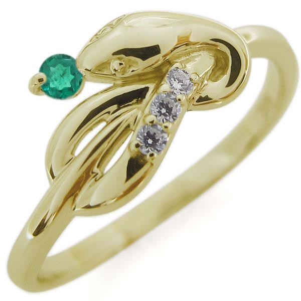 【10%OFF】4日20時~ ピンキーリング エメラルド スネークリング K18 指輪