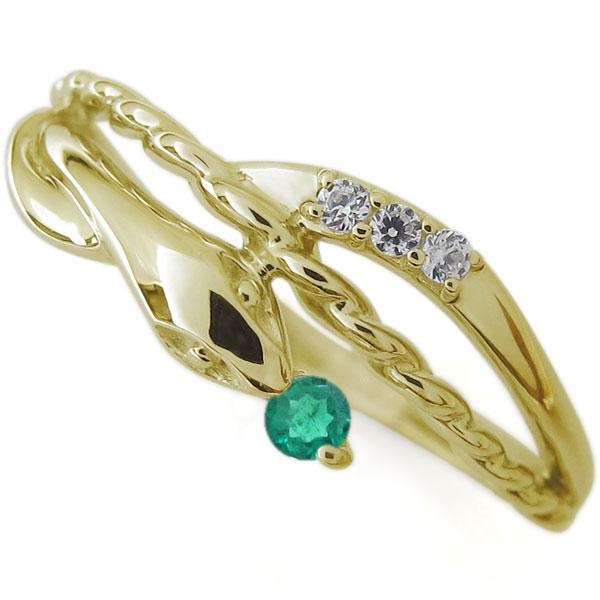 エメラルド スネーク リング ロープ リング 10金 蛇 指輪