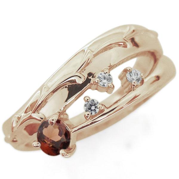 アラベスク 唐草 ガーネットリング 指輪 ピンキー ファランジリング K18