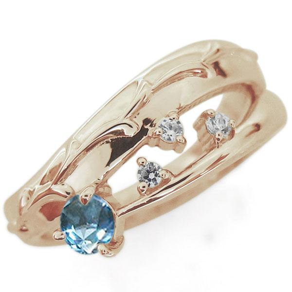 アラベスク 唐草 ブルートパーズリング 指輪 ピンキー ファランジリング K18