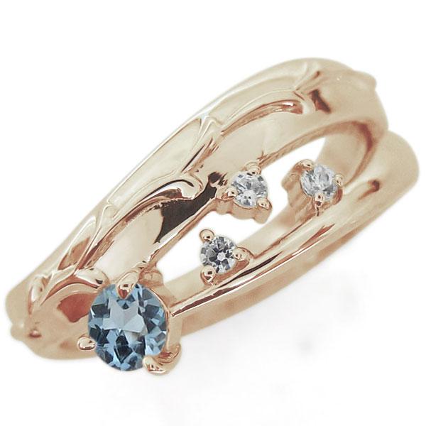 アラベスク 唐草 アクアマリンサンタマリアリング 指輪 ピンキー ファランジリング K18