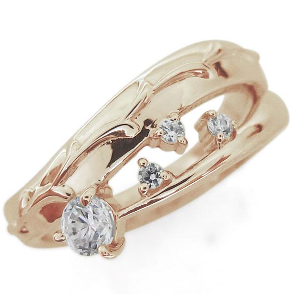 アラベスク 唐草 ダイヤモンドリング 指輪 ピンキー ファランジリング K18