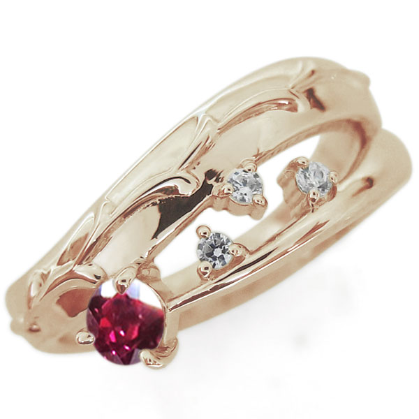 アラベスク 唐草 ルビーリング 指輪 ピンキー ファランジリング K18