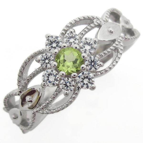 プラチナ 取り巻きリング ペリドット婚約指輪 アンティーク