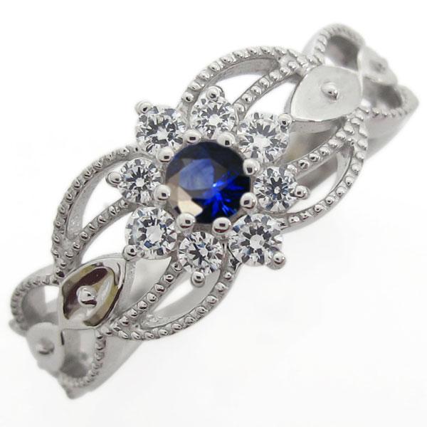 プラチナ 取り巻きリング サファイア婚約指輪 アンティーク