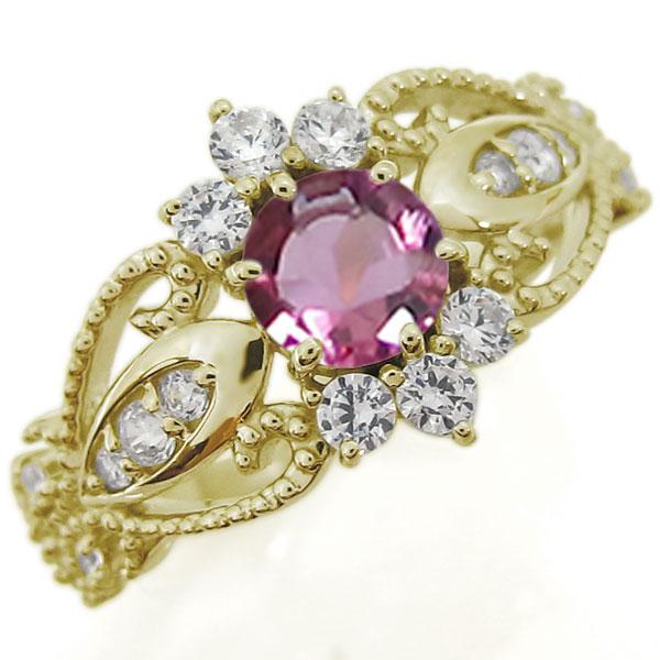ピンクトルマリンリング アンティーク調 エンゲージリング ミル打ち 10金 婚約指輪